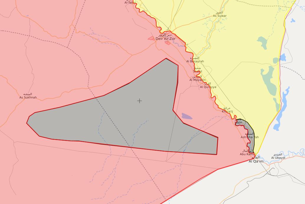 خريطة توضح المناطق التي يتحصن بها تنظيم الدولة شرق سوريا - 11 من أيلول 2018 (lm)