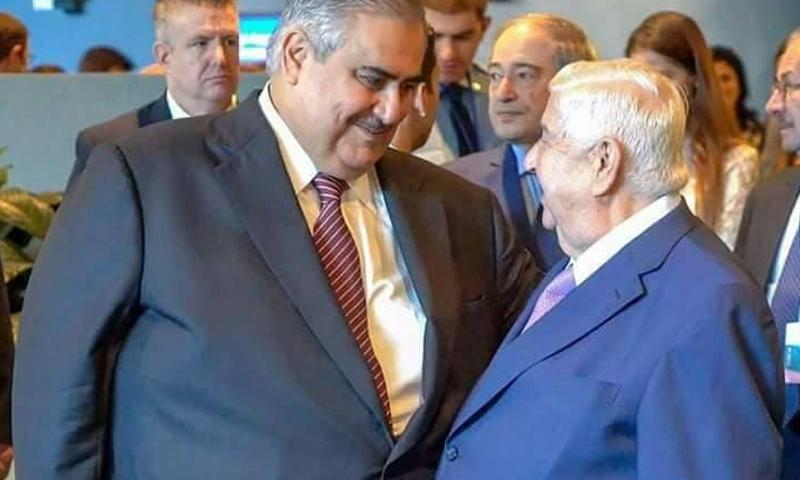 وزيرا خارجية النظام السوري والبحرين وليد المعلم وخالد بن محمد آل خليفة - (فيس بوك)