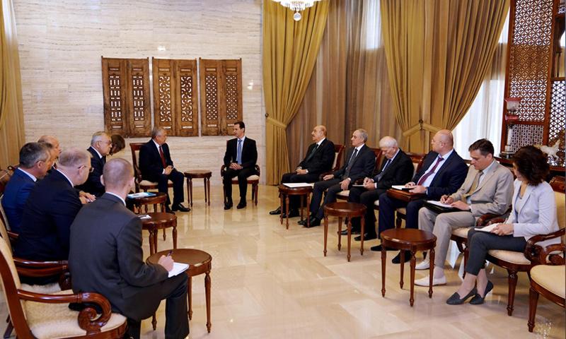 وفد روسي يلتقي الأسد في دمشق- 20 تشرين الأول 2018 (سانا)