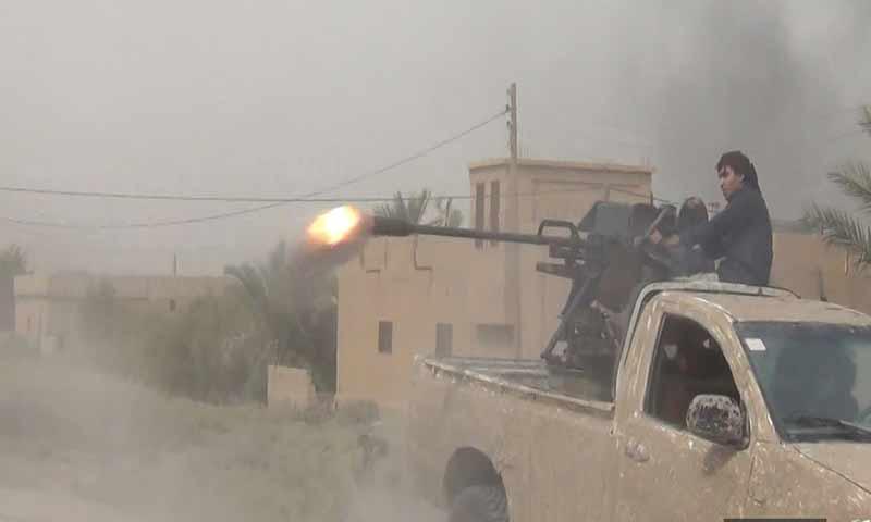 """معارك تنظيم الدولة ضد """"قسد"""" في بلدة السوسة شرقي دير الزور 10 تشرين الأول 2018 (أعماق)"""