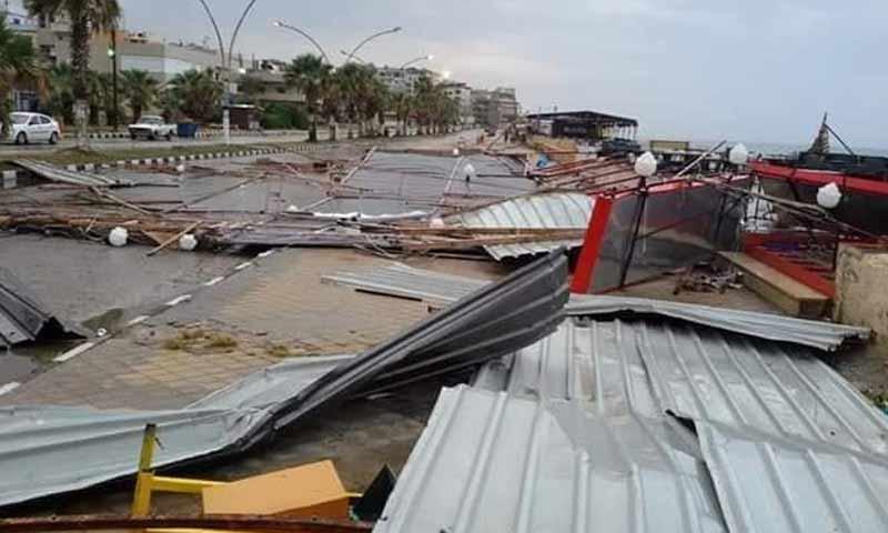 أضرار في مدينة جبلة نتيجة العواصف اليوم 25 تشرين أول 2018 (شبكة أخبار اللاذقية)