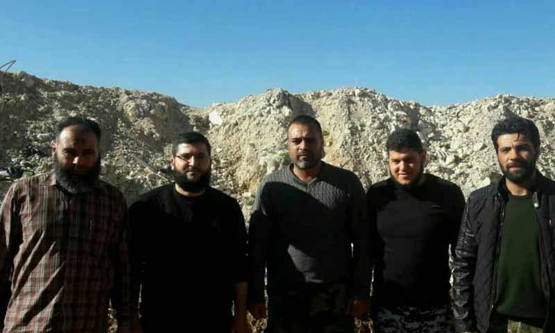 قائد حركة أحرار الشام جابر علي باشا ومرافقيه بعد نجاتهم من قصف بريف حماة الشمالي 29 تشرين الأول 2018 (الرائد جميل صالح )