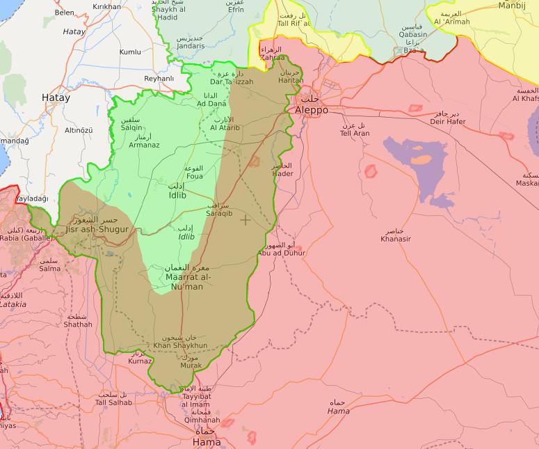 خريطة توضح حدود المنطقة منزوعة السلاح في إدلب - 1 من تشرين الأول 2018 (lm)