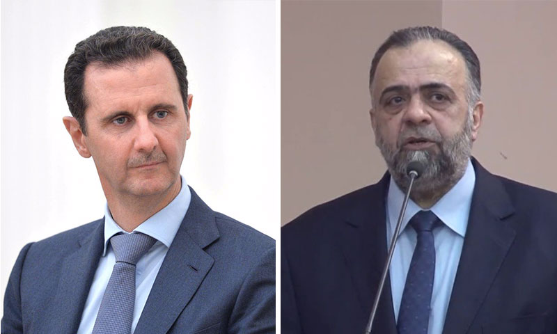 شار الأسد ووزير الأوقاف محمد عبد الستار السيد (تعديل عنب بلدي)