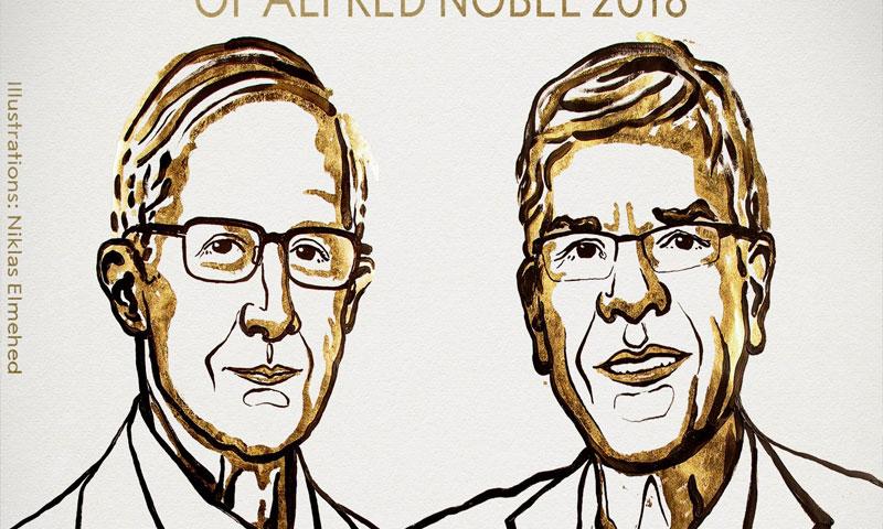 """الفائزان بجائزة """"نوبل"""" للاقتصاد (تويتر)"""