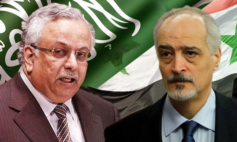 مندوب سوريا في الأمم المتحدة بشار الجعفري والمندوب السعودي عبد الله المعلمي (تعديل عنب بلدي)