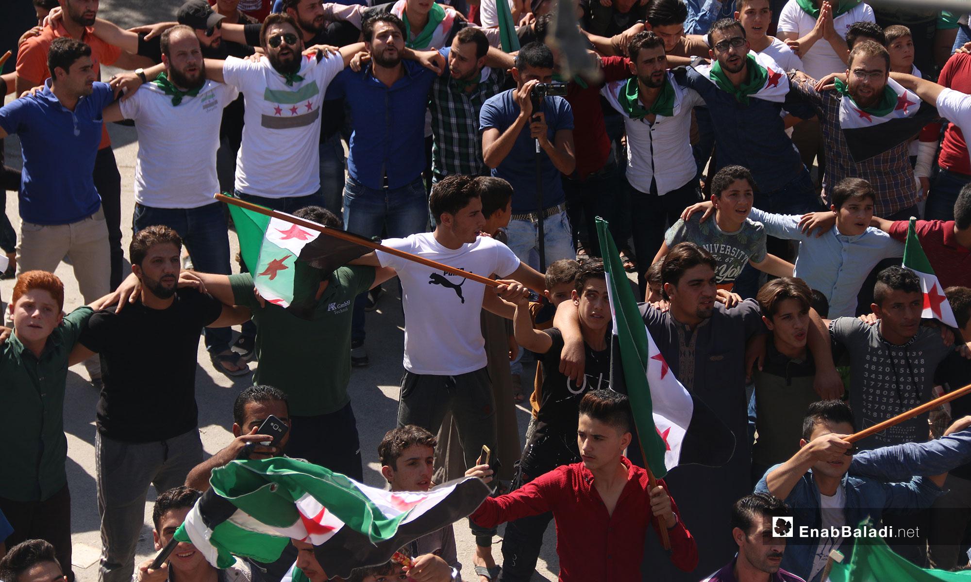 مظاهرات شعبية في كفرنبل بريف إدلب - 5 من تشرين الأول 2018 (عنب بلدي)