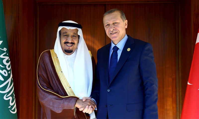 الرئيس التركي رجب طيب أردوغان والملك السعودي سلمان بن عبد العزيز- (رويترز)