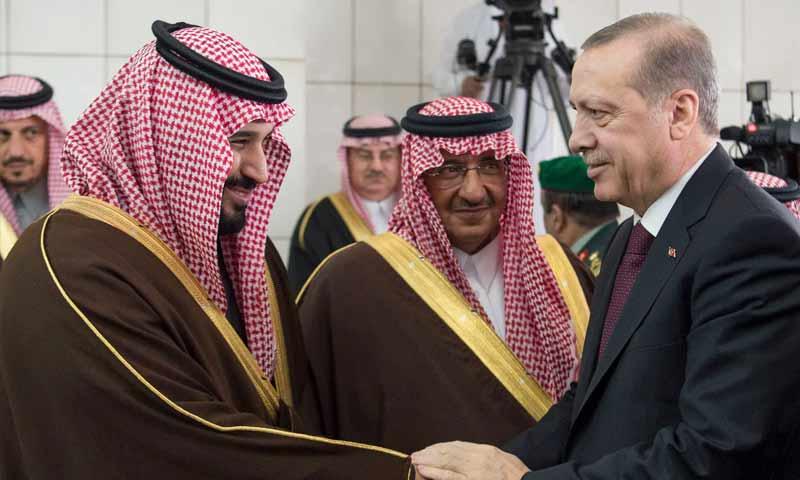 الرئيس التركي رجب طيب أردوغان وولي العهد السعودي محمد بن سلمان في زيارة لأردوغان إلى المملكة- 14 شباط 2017 (العربية)