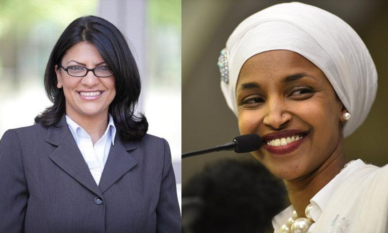 الأمريكيتان من أصول عربية إلهان عمر ورشيدة طليب (تعديل عنب بلدي)