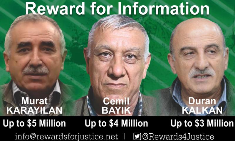 """قادة مطلوبون في """"حزب العمال الكردستاني"""" (تويتر)"""