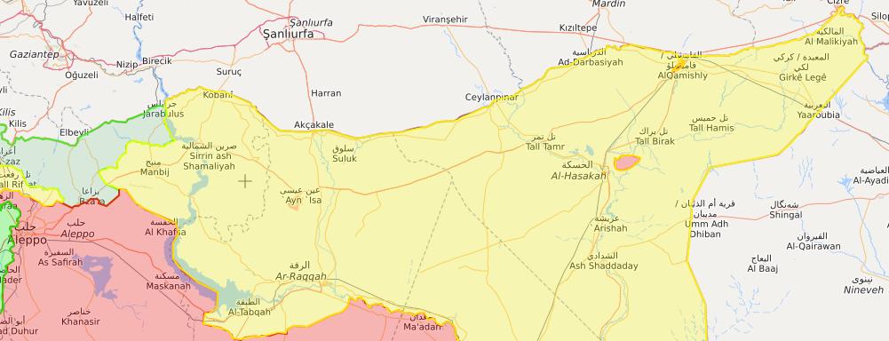 خريطة السيطرة شمال شرقي سوريا - 7 تشرين الثاني 2018 (Livemap)