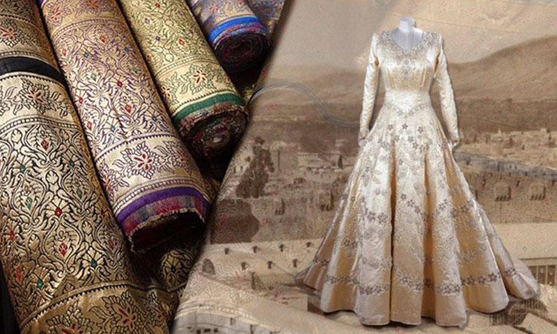 فستان زفاف الملكة إليزابيث من البروكار الدمشقي (تعديل عنب بلدي)