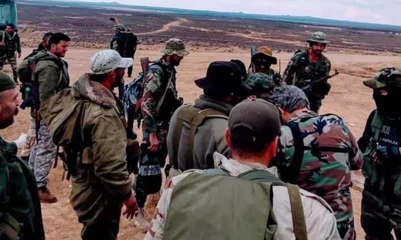 قوات الأسد في بادية السويداء برفقة العقيد غيث دلا 8 تشرين الأول 2018 (دمشق الآن)