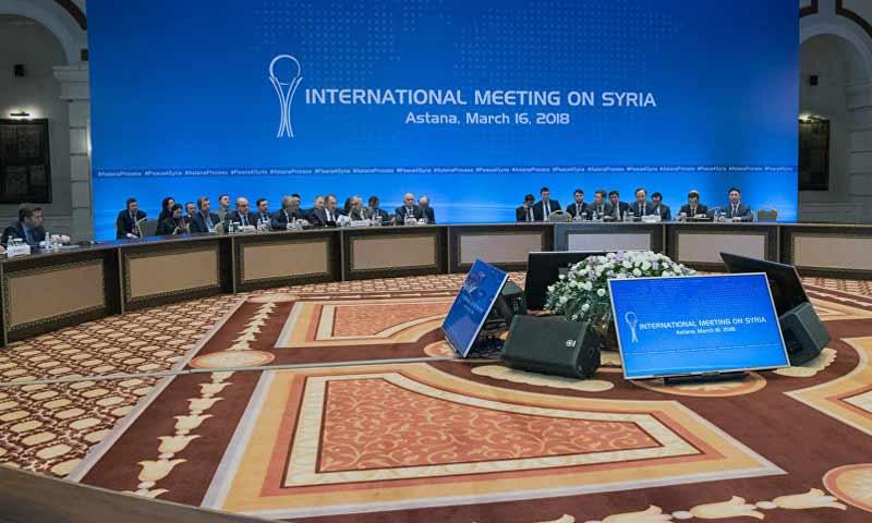 جولة محادثات أستانة حول سوريا بمشاركة روسيا وتركيا وإيران في أذار 2018 بسوتشي (سبوتنيك)
