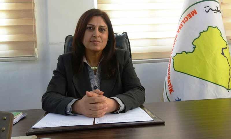 الرئيسة المشتركة لمجلس سوريا الديمقراطية أمينة عمر (وكالة هاوار)