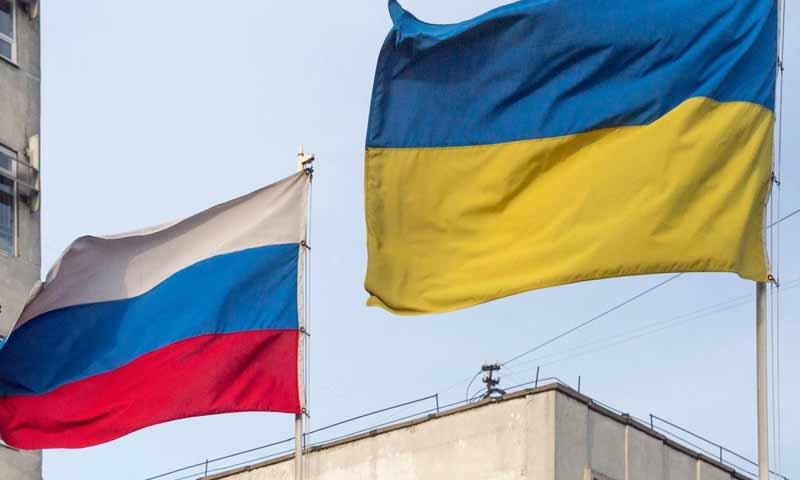العلمين الأوكراني والروسي (Srpskacafe)