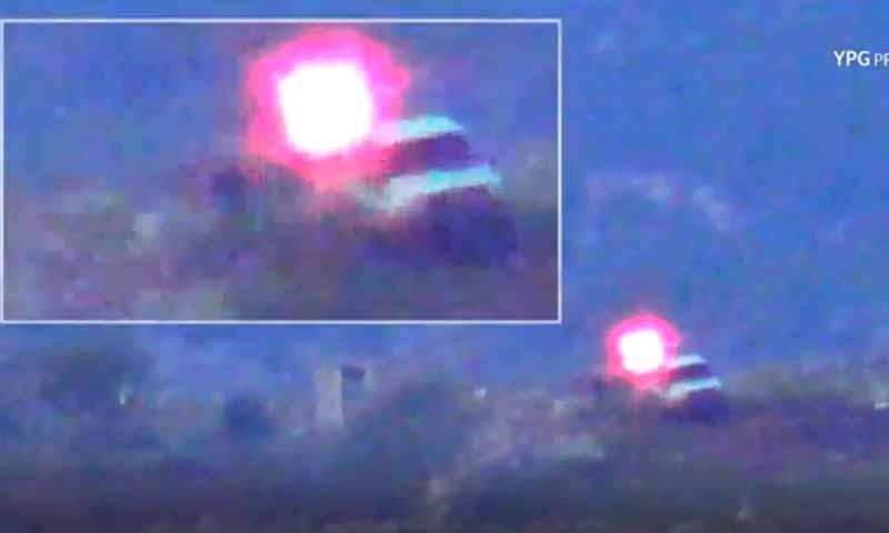استهداف عربة عسكرية من الوحدات للجيش الحر في مدينة عفرين 26 من تشرين الثاني 2018 (المركز الاعلامي للوحدات)
