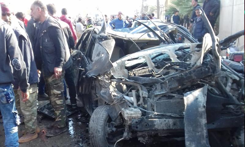 آثار انفجار السيارة المففخة في مدينة جرابلس بريف حلب الشرقي - 12 من تشرين الثاني 2018 (فيس بوك)