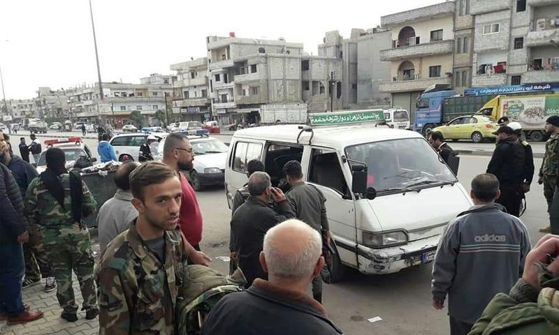 الحافلة التي انفجرت بداخلها قنبلة في شارع الستين بمدينة حمص - 13 من تشرين الثاني 2018 (المدينة إف إم)