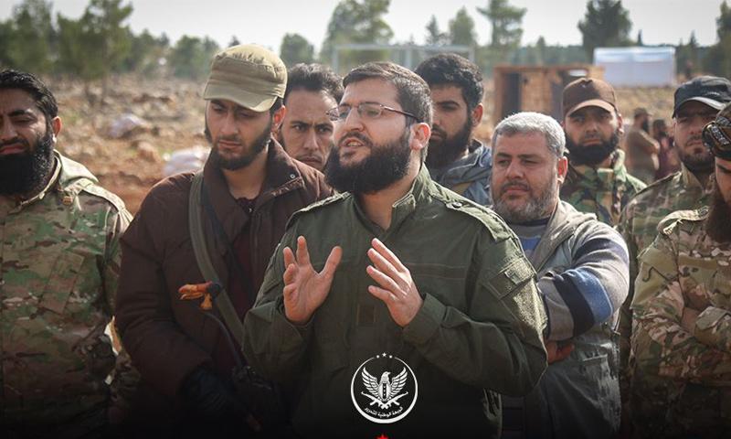 قائد حركة أحرار الشام جابر علي باشا في معسكر تدريبي بريف إدلب - (أحرار الشام)