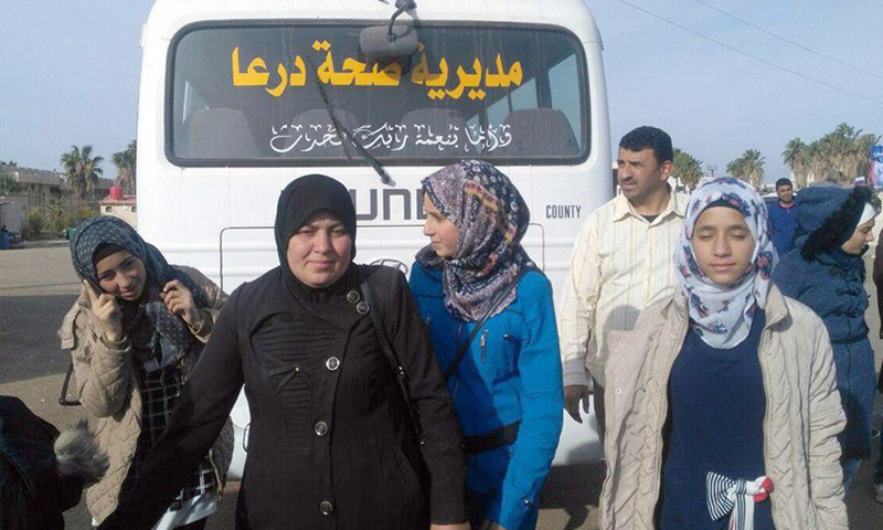 دفعة من اللاجئين السوريين تعود من الأردن عبر معبر نصيب- 28 تشرين الثاني 2018 (سانا)