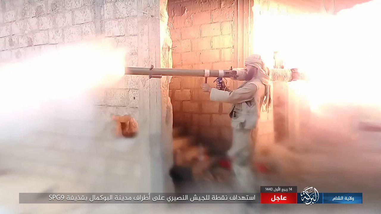 """استهداف نقطة لقوات الأسد من قبل تنظيم """"ألدولة"""" على أطراف البوكمال 22 تشرين الثاني 2018 (أعماق)"""