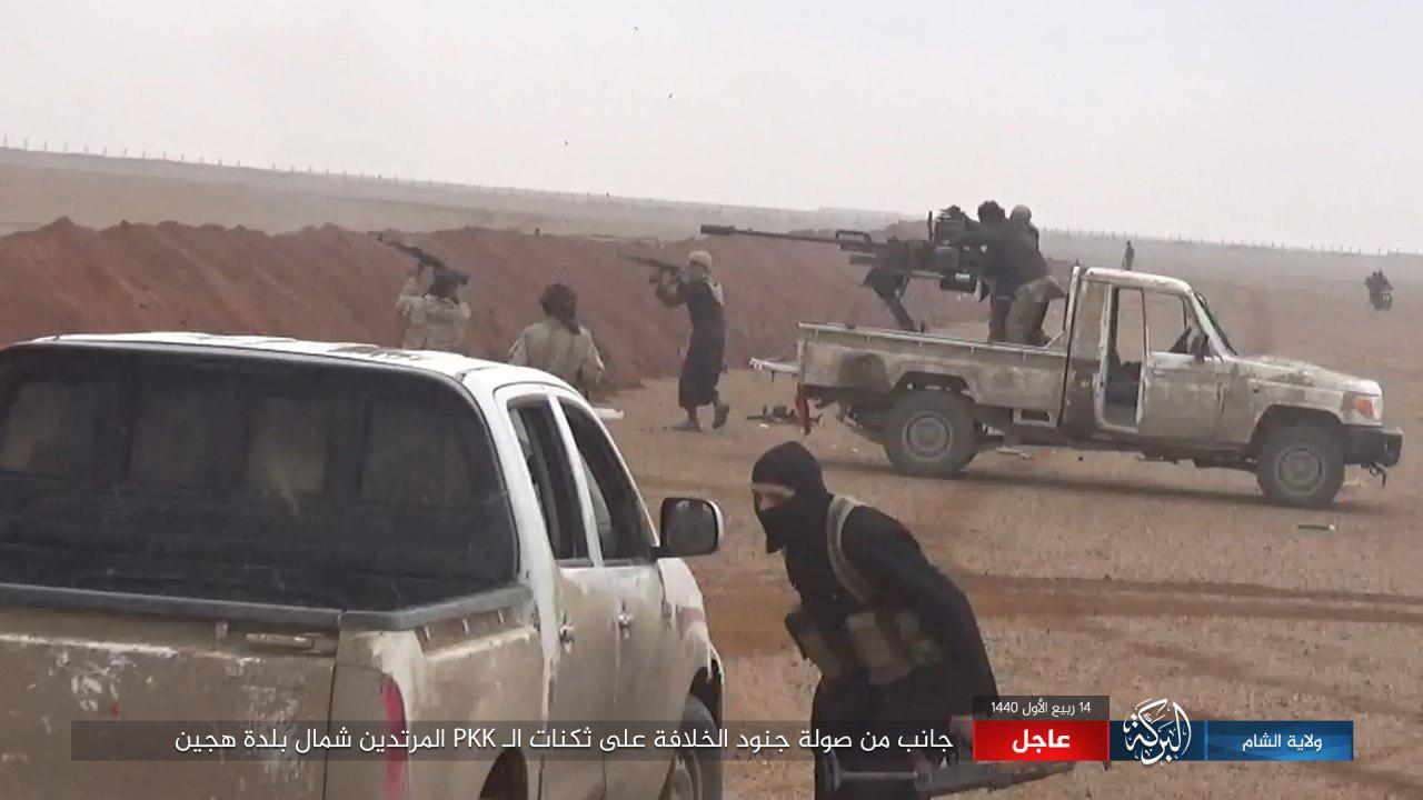 لهجوم لمقاتلي تنظيم الدولة على مواقع قسد في منطقة هجين شرقي دير الزور 22 تشرين الثاني 2018 )وكالة أعماق)
