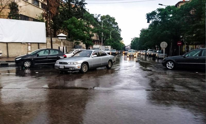 أمطار في منطقة الجبة بدمشق (عدسة شاب دمشقي فيس بوك)