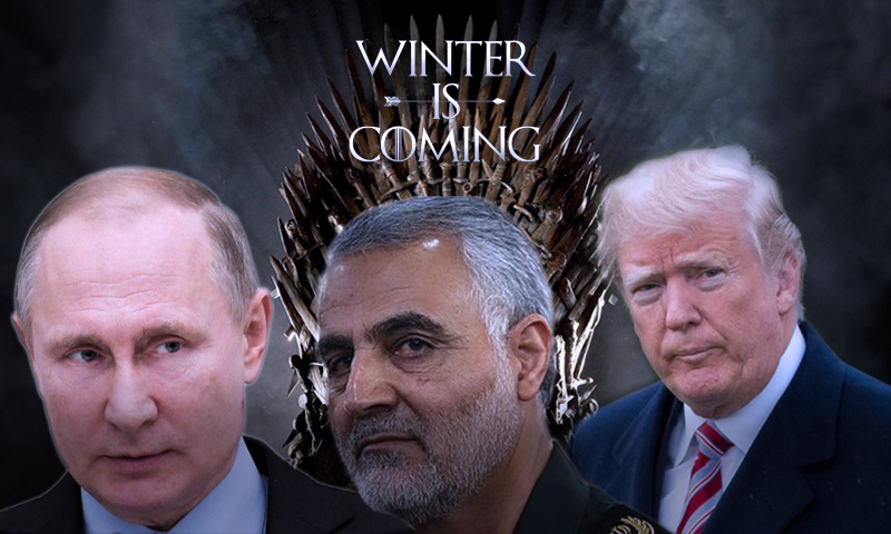 الرئيس الروسي فلاديمير بوتين، والرئيس الأمريكي دونالد ترامب والجنرال الإيراني قاسم سليماني (تعديل عنب بلدي)