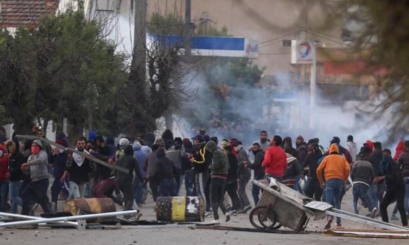 من الاحتجاجات في مدينة المصرين التونسية- 2018 (وجد بوعبدالله)