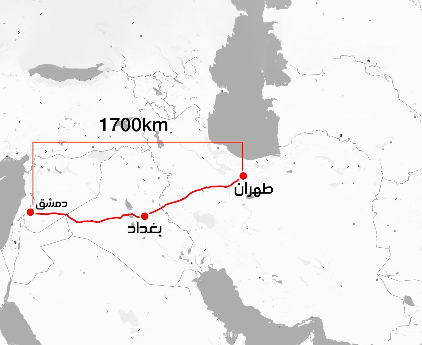 خريطة تظهر الطريق الواصل بين دمشق وطهران مرورًا ببغداد (عنب بلدي)