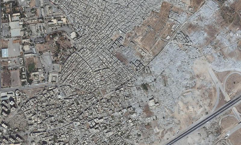 الأقمار الصناعية توضح مدى توسع عمليات هدم المنازل في حي القابون بدمشق-2018