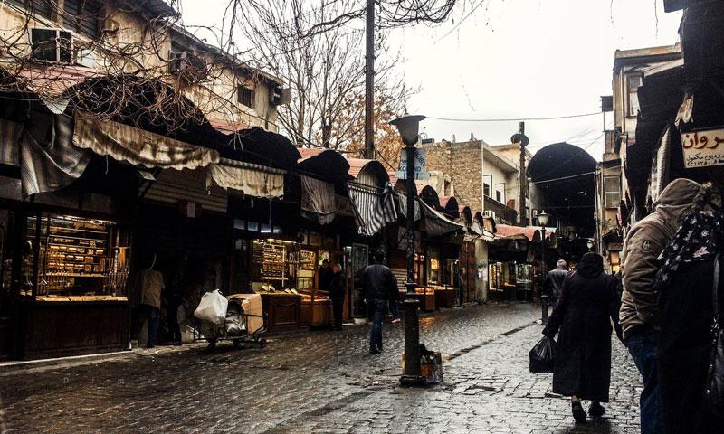 الأمطار في دمشق سوق الصاغة (فيس بوك عدسة شاب دمشقي)