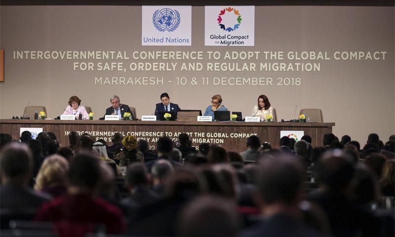 مؤتمر مراكش للمصادقة على ميثاق الهجرة الدولي- 10 كانون الأول 2018 (AP)