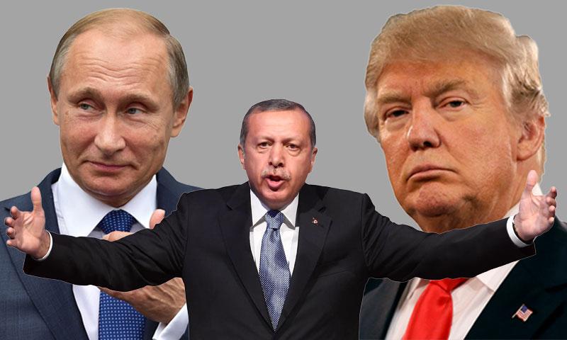 أردوغان وترامب وبوتين (تعديل عنب بلدي)