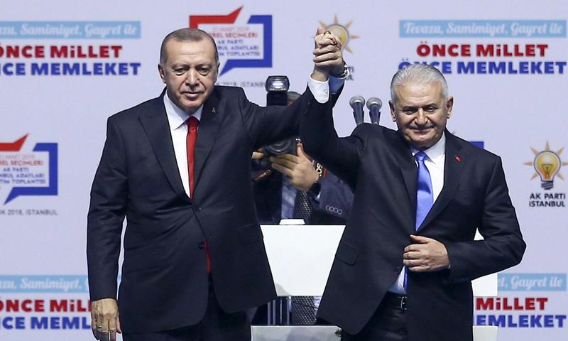الرئيس التركي خلال اجتماع باسطنبول لتعينه لرئيس بلدية اسطنبول الكبرى 29 من كانون الأول 2018 (TRT HABER توتير)