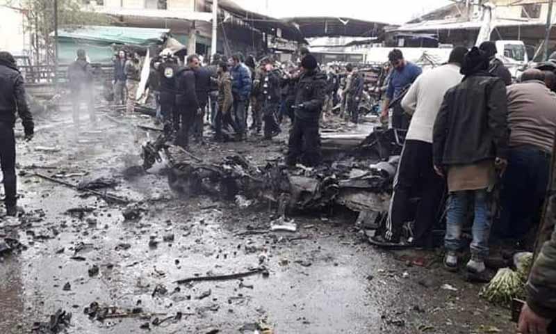 تفجير مفخخة أمام سوق الهال وسط مدينة عفرين 16 كانون الأول 2018 (عفرين نيوز)