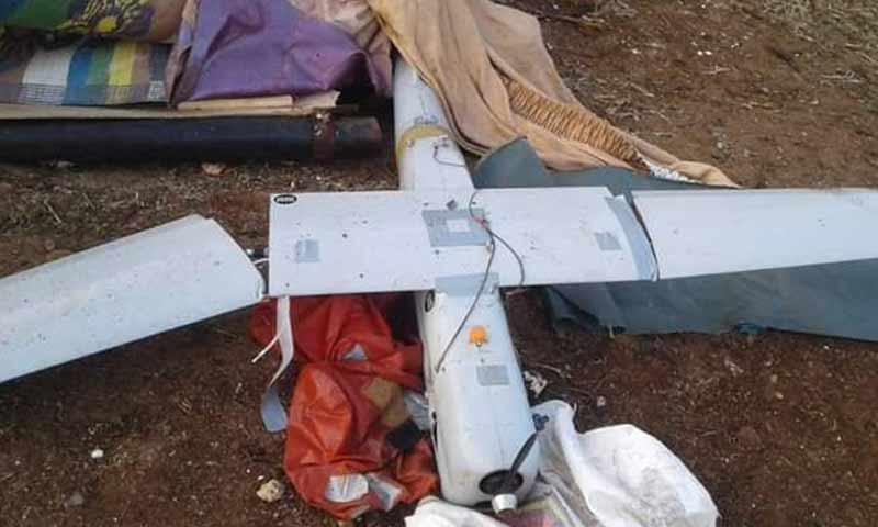 طائرة اتسطلاع روسية سقطت في رف حماة الشمالي 16 كانون الأول 2018 (تويتر)