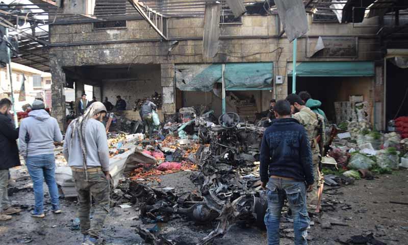 تفجير مفخخة أمام سوق الهال وسط مدينة عفرين 16 كانون الأول 2018 (الأناضول)