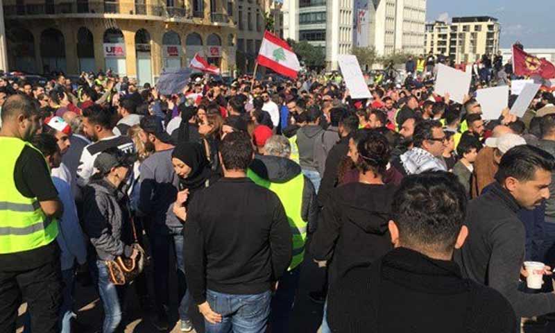 مظاهرات في العاصمة اللبنانية بيروت ضد الفساد الحكومي والتدهور الاقتصادي 23 كانون الأول 2018 (الميادين)