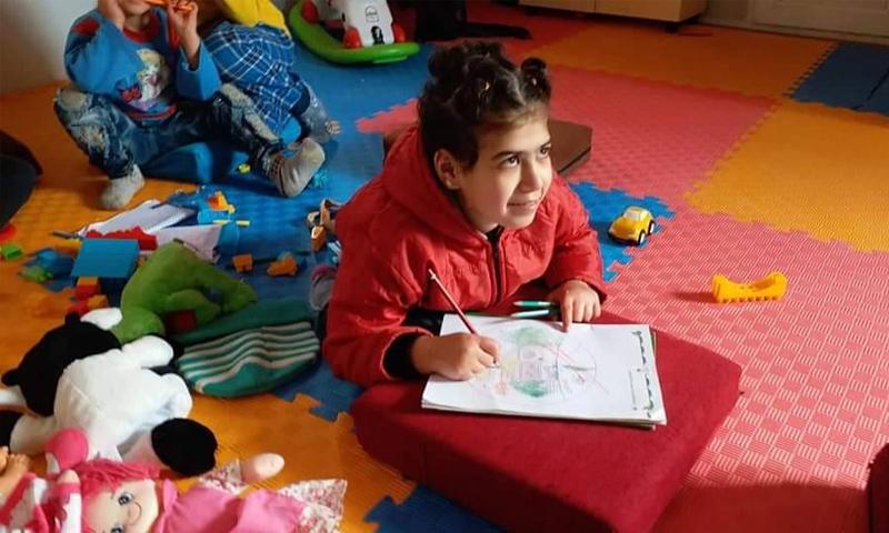 طفلة من ذوي الاحتياجات الخاصة في مركز جرابلس - كانون الأول 2018 (فيس بوك)