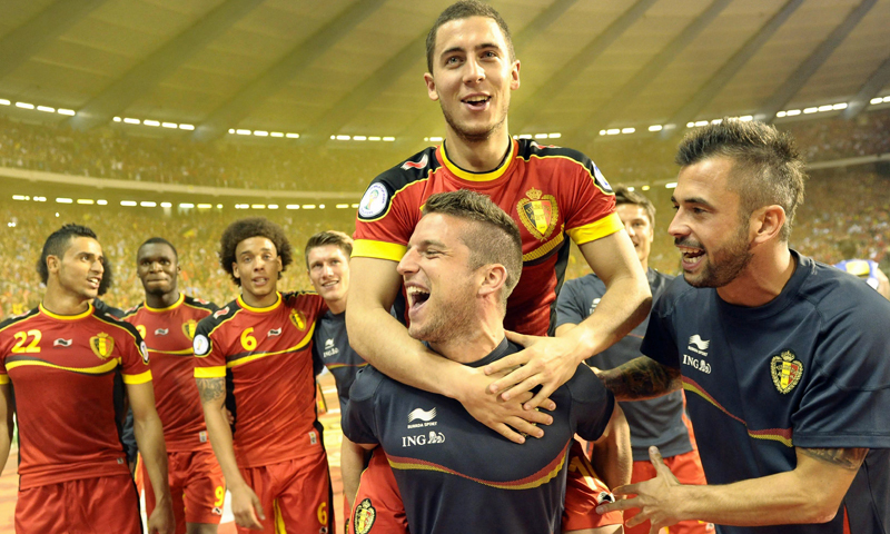 المنتخب البلجيكي خلال تتويجه في المركز الثالث في نهائيات كأس العالم 2018(arysports)