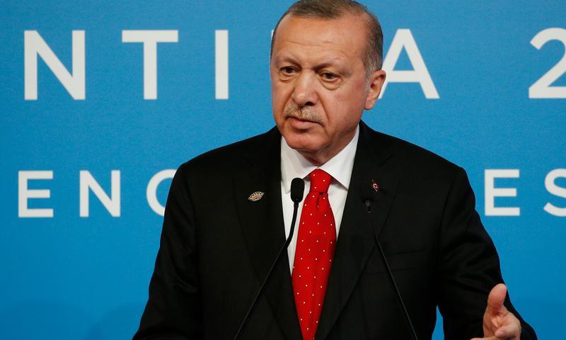 الرئيس التركي، رجب طيب أردوغان، في قمة العشرين (الأناضول)