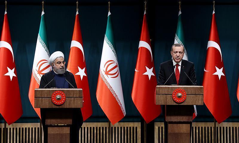 المؤتمر الصحفي المشترك بين الرئيس التركي رجب طيب أردوغان والرئيس الإيراني حسن روحاني- 20 من كانون الأول 2018 (الأناضول)