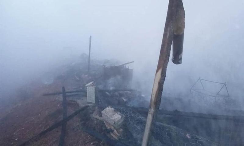 حريق في مخيم للاجئين السوريين في بلدة اليمونة بالبقاع- 3 كانون الأول 2018 (NNA)