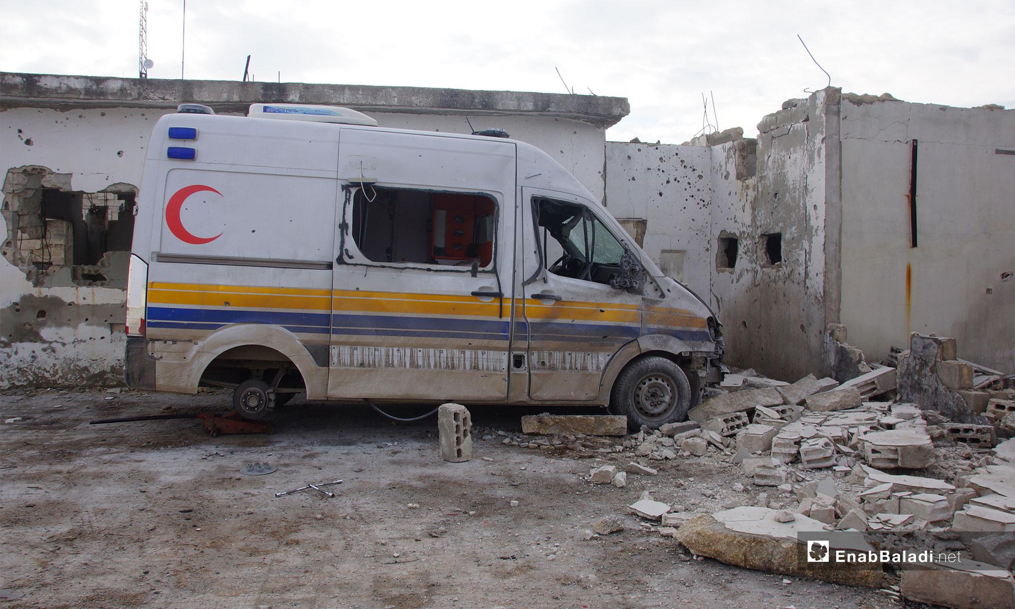 أثار القصف على مدينة مورك شمالي حماة - 25 من كانون الأول 2018 (عنب بلدي)