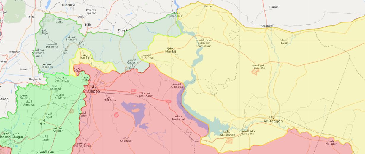 خريطة تظهر توزع السيطرة في الشمال السوري - 27 كانون الأول 2018 (Livemap)