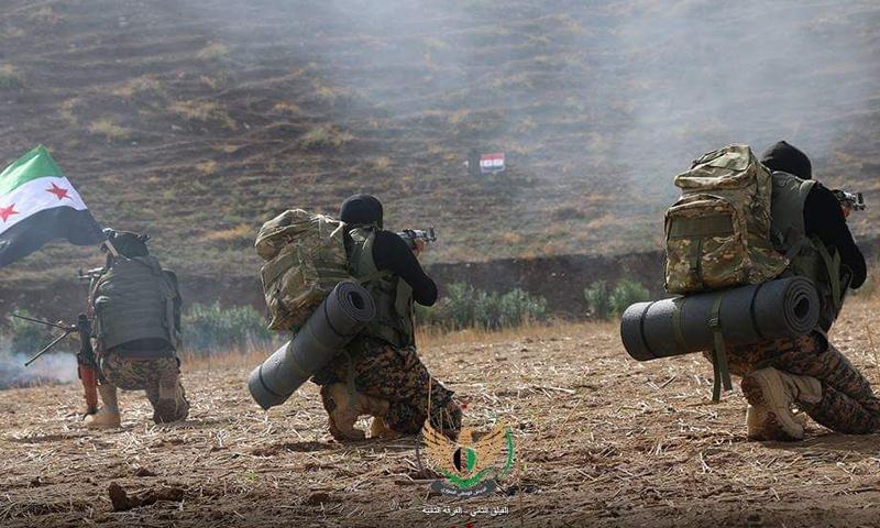 عناصر من فرقة الحمزة المنضوية في الجيش الوطني خلال معسكر تدريبي بريف حلب -(الفيلق الثاني)