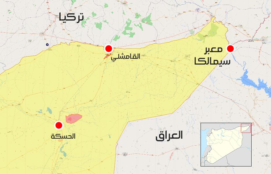 """خريطة توضح موقع معبر """"سيمالكا"""" على الحدود السورية-العراقية ( liveuamap)"""